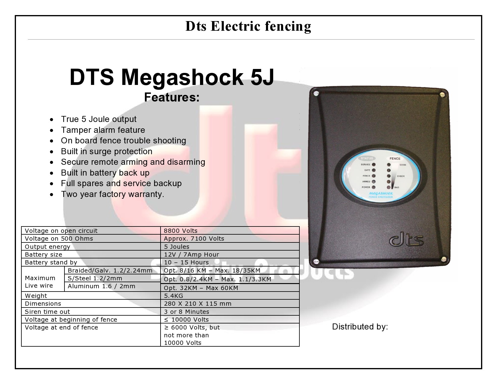 Dts Megashock 5 Energizer Security Products Electric Fence Tester Circuits Category Fencing